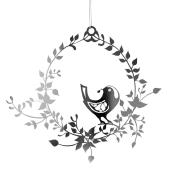 Fugl i blomsterkrans sølv medium - Jette Frölich
