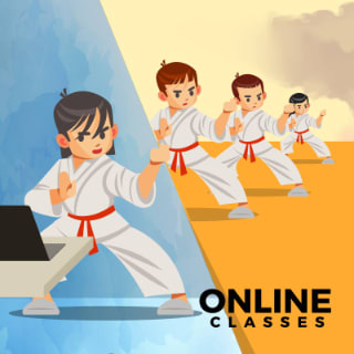Illustration showing a child wearing martial arts uniform holding an open sign
