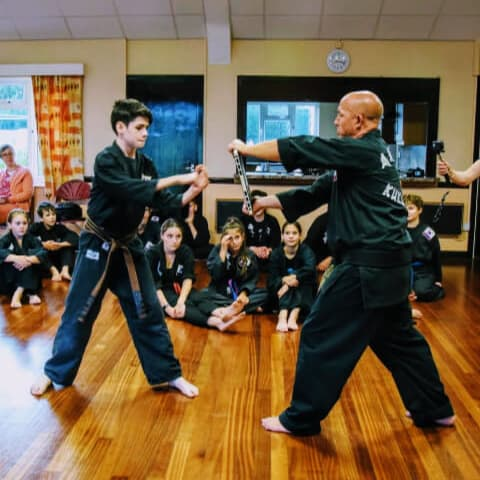 Two adults face to face practicing Kuk Sool