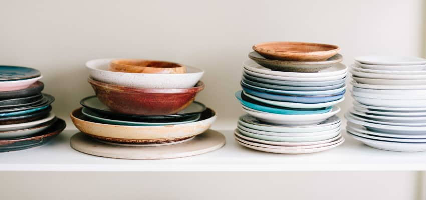 Stack of plates.