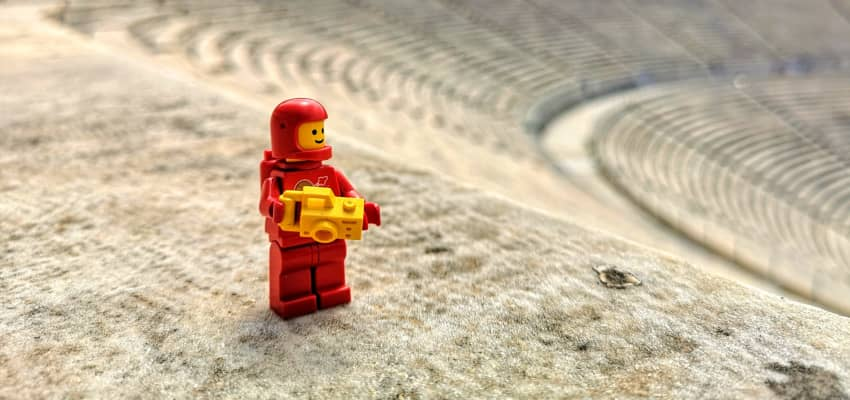 Brick astronaut with camera in the Kalimarmaro, where the first Olympic Games were held.
