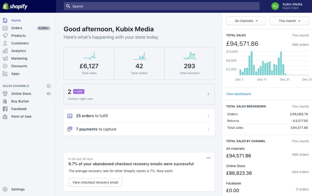 Shopify admin dashboard.