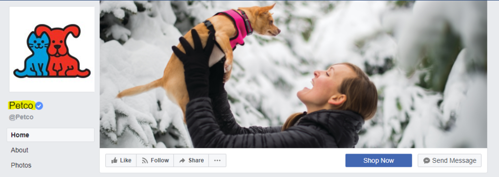 Facebook page of PetCo