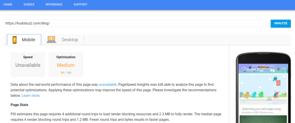 measure page loading speed