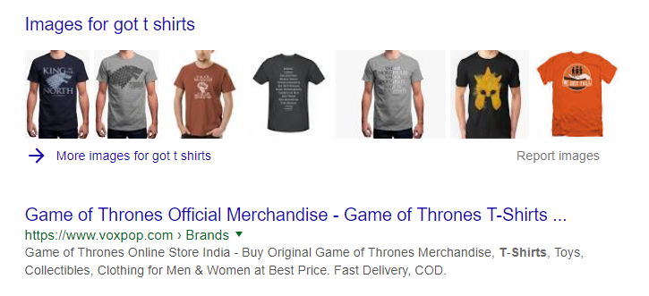 product images in search result