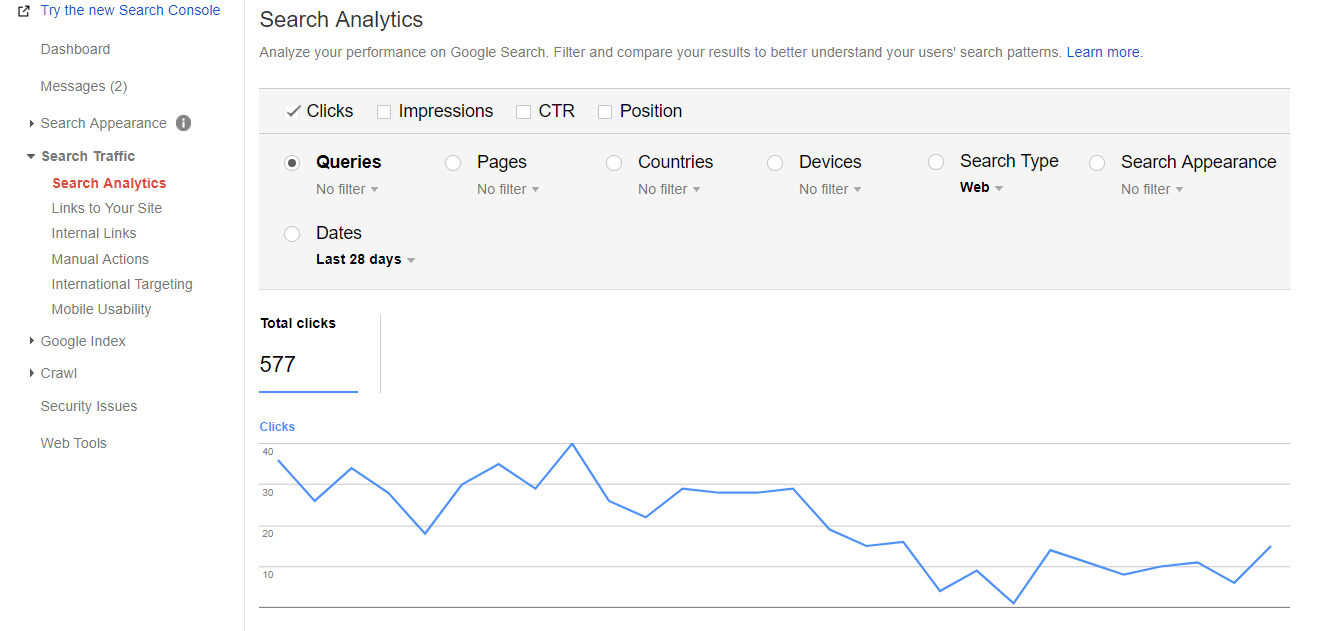Search analytics data in search console