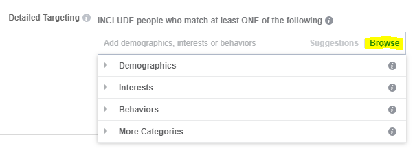 detailed targeting options in Facebook ad manager