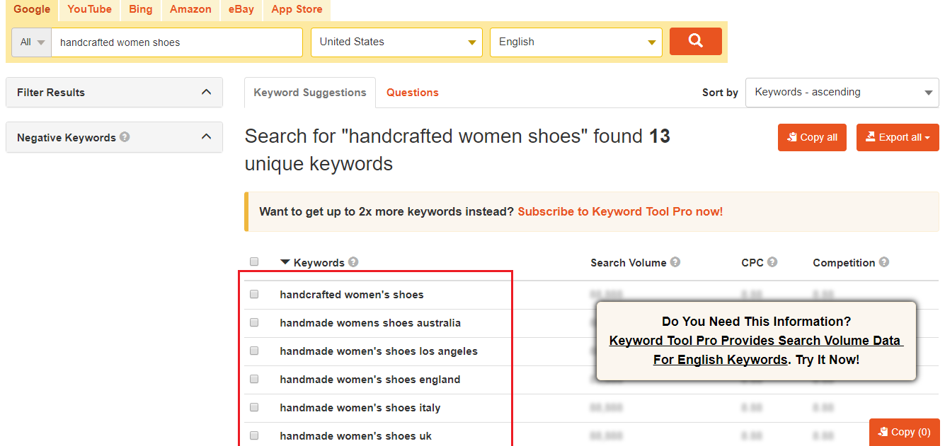 keywords from keywordtool.io