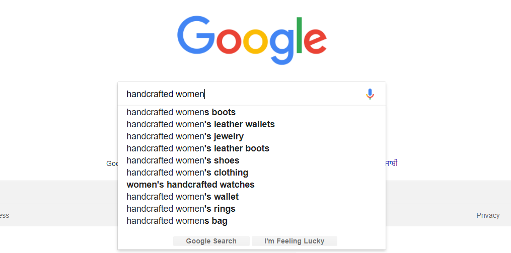 Keyword suggestion by Google