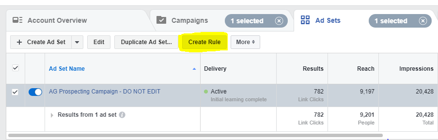 Create Rule option - fb ad automation