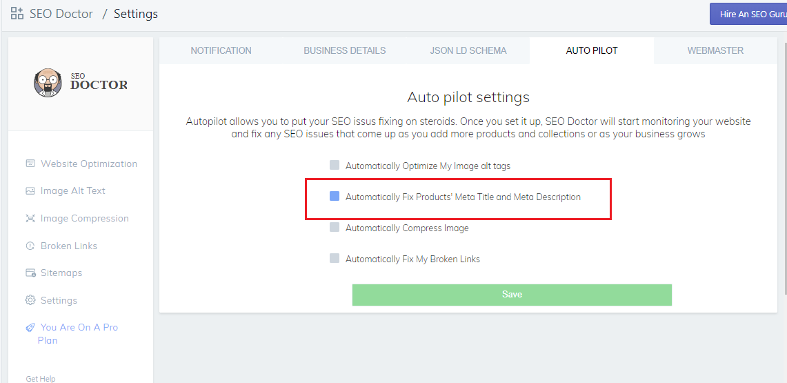 SEO doctor SEO autopilot option