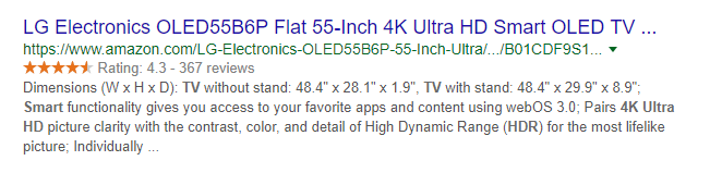 product page meta description example