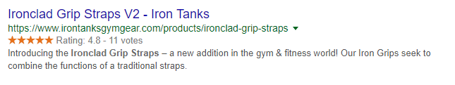 Example of rich snippet for SEO