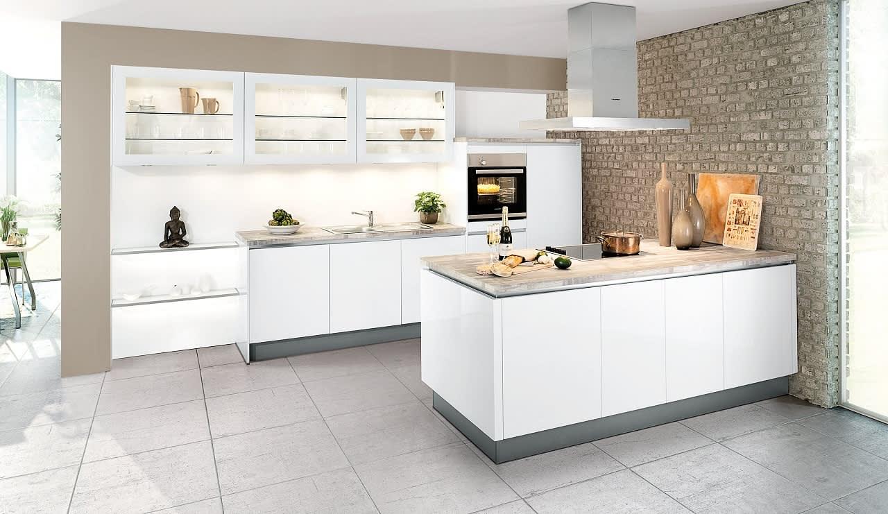 classica1230 einbauküche weiß grifflos hochglanz