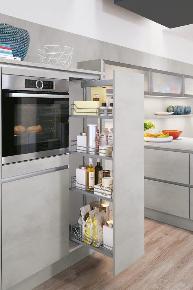 Apothekerschrank Küche Grifflos Grau Norina2371