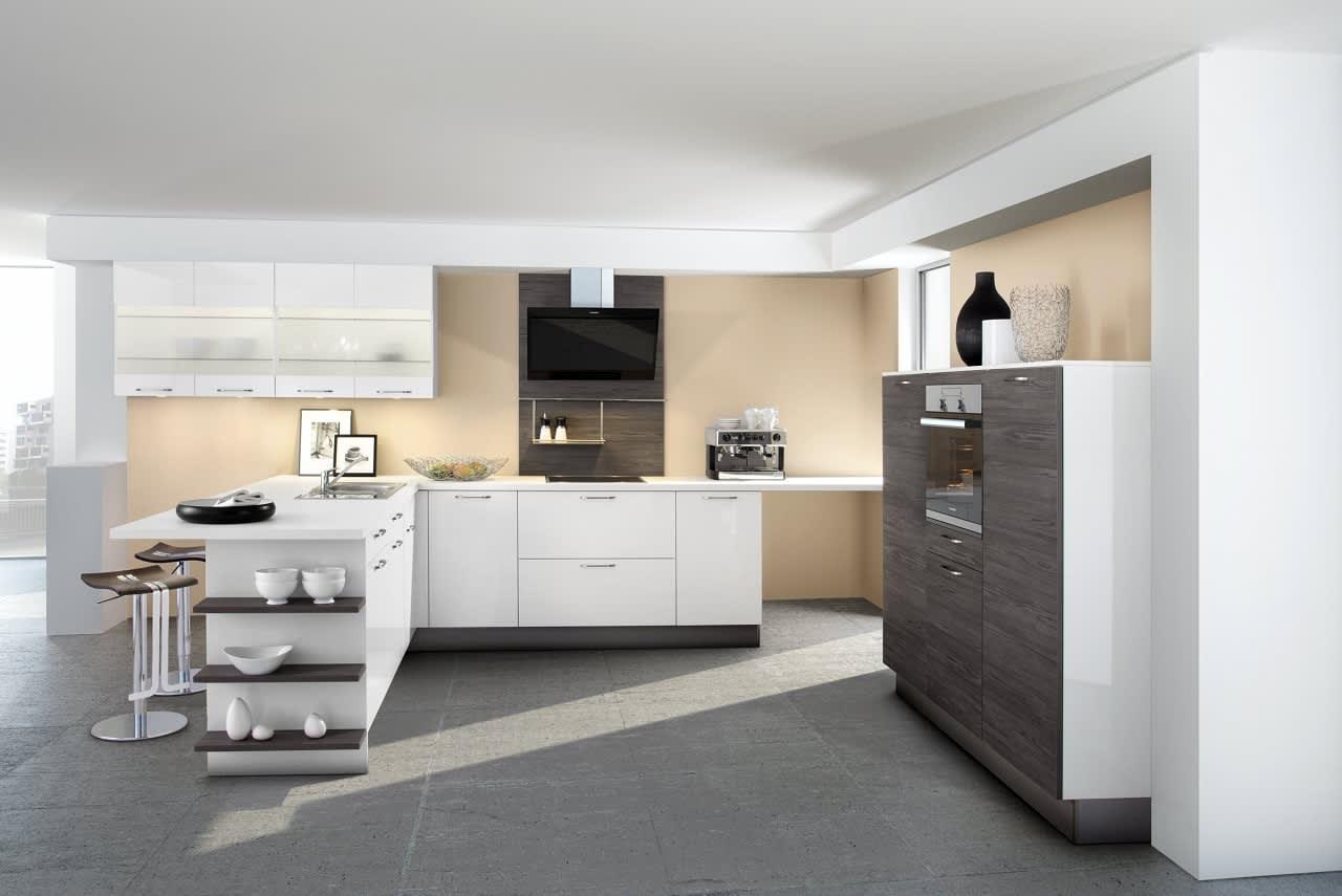 Design-Einbauküche Systema 6000-1092-Polarweiss-Lack-Pinie ...