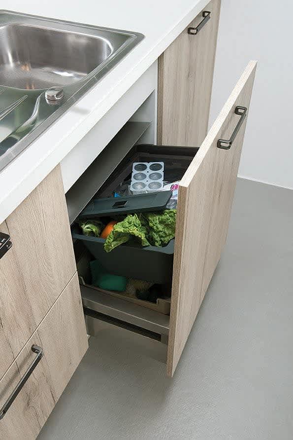abfallsystem einbauküche eiche sand classica1210