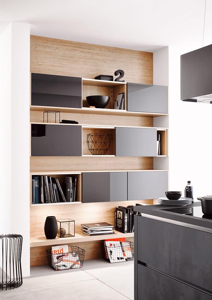 hängeschrank classica1200 3410 einbauküche beton graphit schwarz hochglanz lack