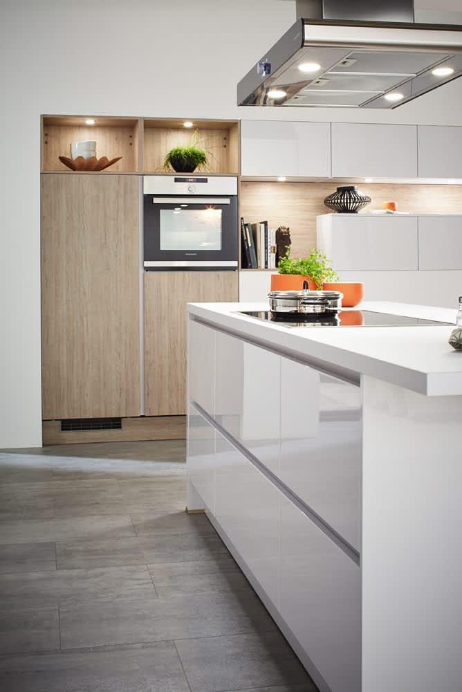 kücheninsel classica4510 1210 einbauküche weiß eiche grau grifflos