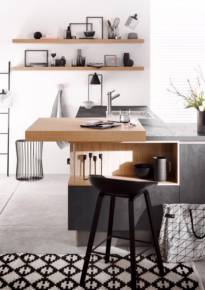 tresen classica1200 3410 einbauküche beton graphit schwarz hochglanz lack