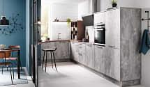 moderne einbauküche l form spachtelbeton tresen holz nachbildung