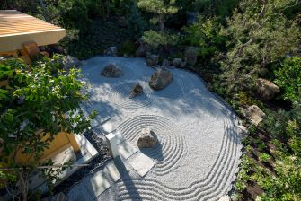 aerial view of rock garden at Los Altos residence