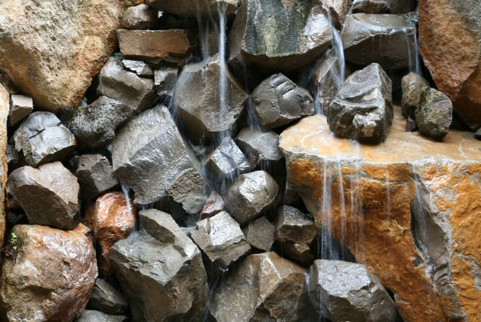 close up of waterfall and rocks at Brand Vineyards