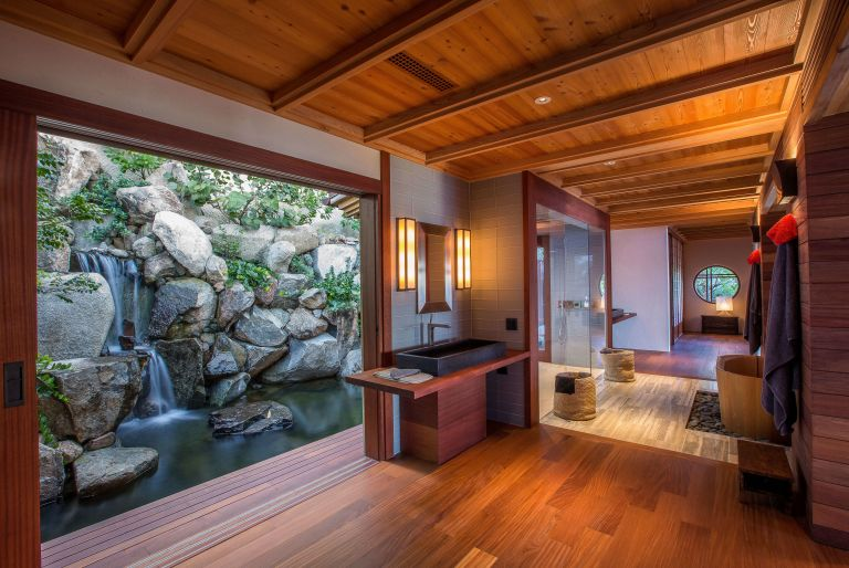 bathroom with view of waterfall at British Virgin Island residence