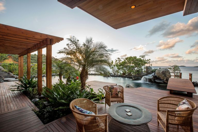 deck with view of ocean at British Virgin Island residence