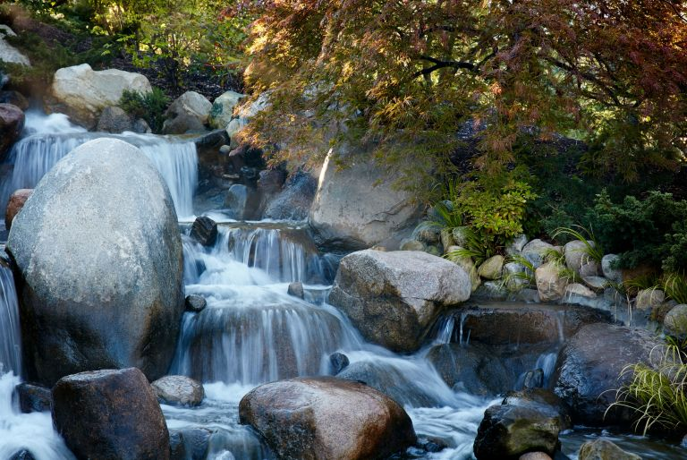 rocky waterfall at Frederik Meijer Gardens