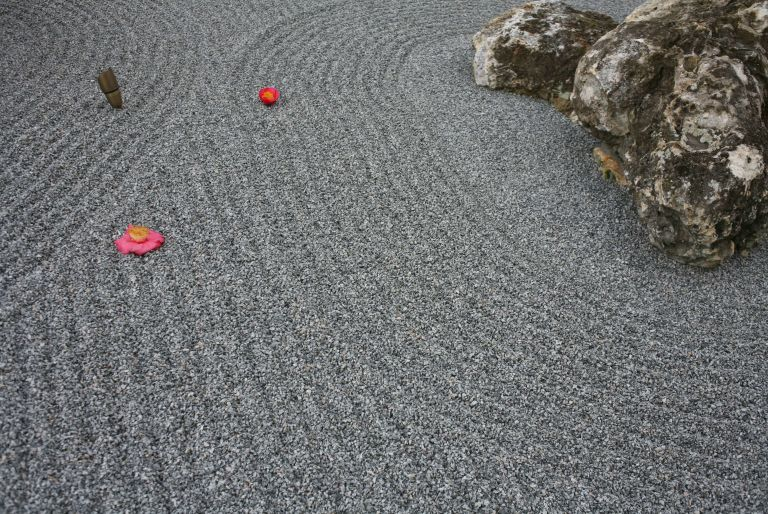 rock garden with flower petals at the Harn Museum