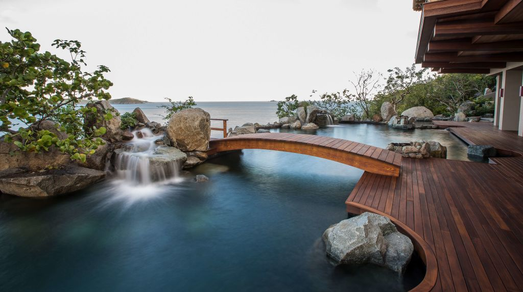 bridge over water with ocean view at British Virgin Island residence