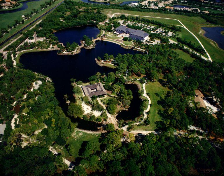 aerial view of landscape around Morikami Museum