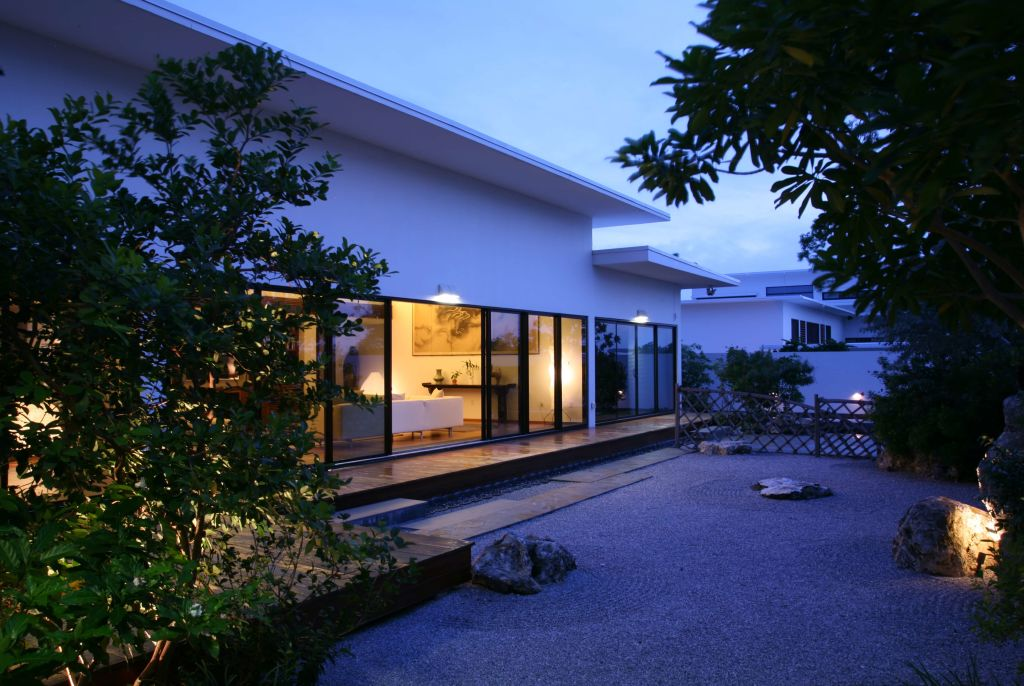 residence and rock garden at night, Grand Cayman residence