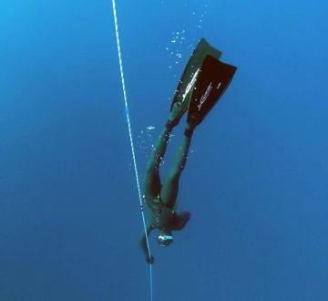 diver grabbing a lifeline under water