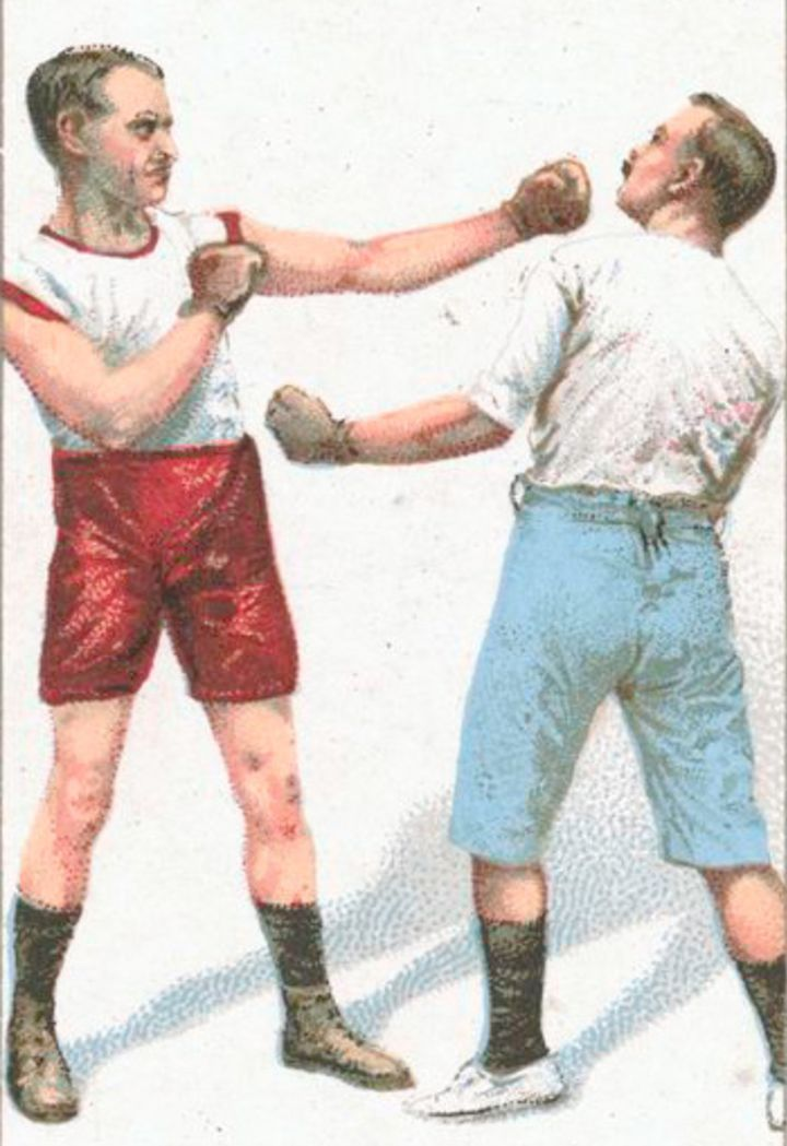 photo from nypl archives of an old-timey boxing match