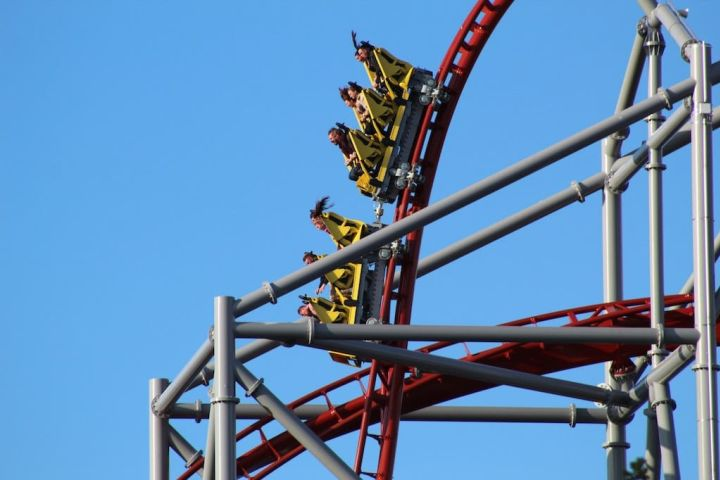 Photo of people riding a roller coaster, and dropping straight down as a metaphor for this week's stock market tumble