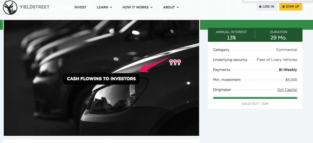 Screenshot showing Yieldstreet ridesharing fleet expansion investment to anonoymous visitors, indicating 'Cash flowing' with nothing to indicate default status