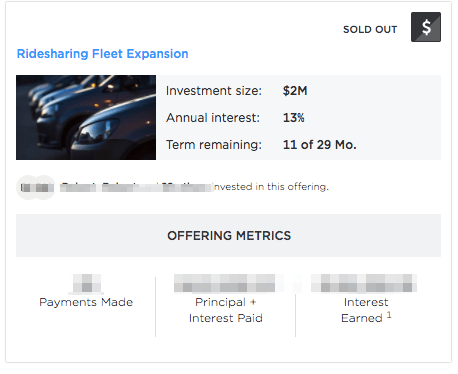 screenshot of YieldStreet ridesharing fleet expansion investment status shown to logged in customers indicating payments have been made, but no obvious indication of any problem with the loan