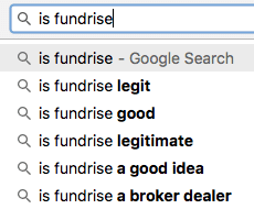 screenshot of a google search showing first auto-suggest result for a search for fundrise is 'is fundrise legit'