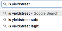 screenshot of a google search showing first auto-suggest result for a search for yieldstret is 'is yieldstret legit'