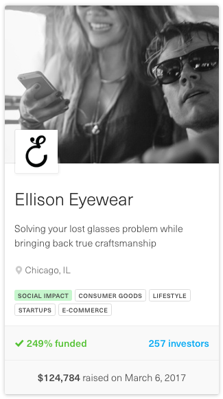 screenshot showing info about ellison eyewear equity crowdfunding campaign
