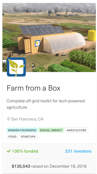 screenshot from farm from a box eqity crowdfunding campaign