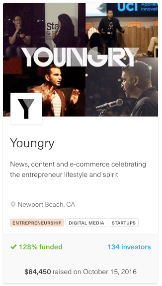 screenshot from youngry equity crowdfunding campaign