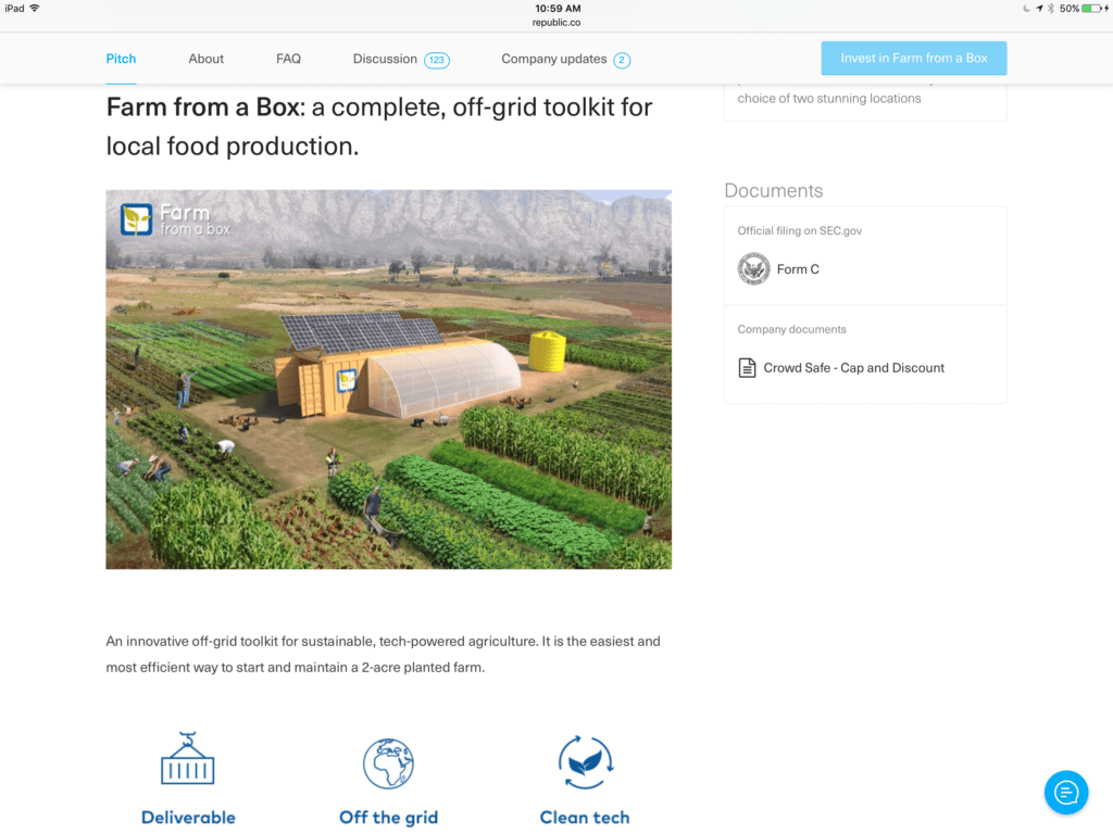 Screnshot with more details from republic about farm from a box equity crowdfunding campaign
