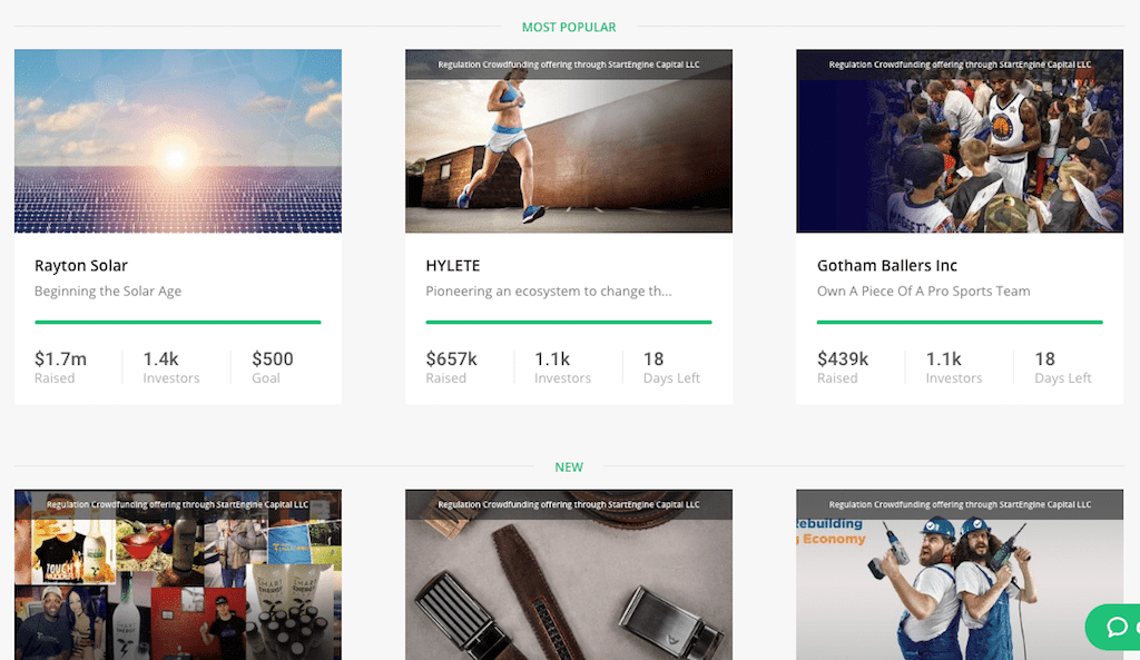 5 of the best equity crowdfunding sites for beginning investors -- screenshot of startengine offerings