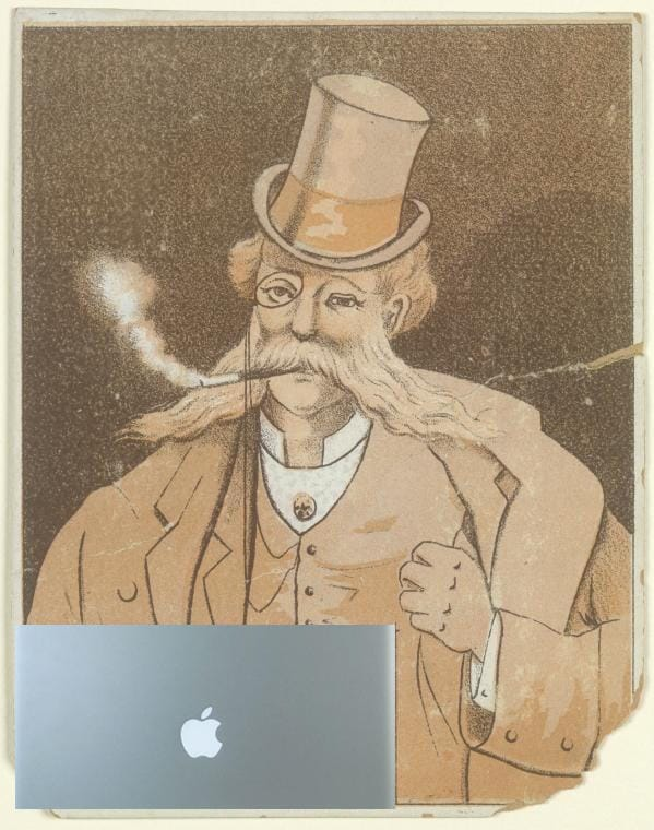 mashup photo of old-timey guy with a tophat and a monocle made to look like he's using a mac laptop