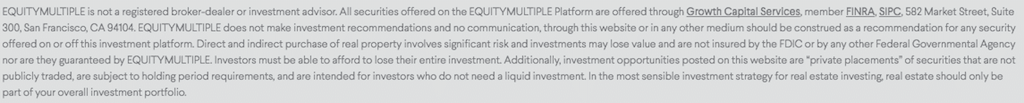 screenshot of disclaimer from equitymultiple website about broker dealer affiliation