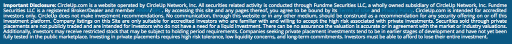 screenshot of disclaimer fine print from circleup website