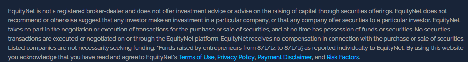 screenshot of disclaimer from equitynet website that they are not a broker dealer or an investment advisor